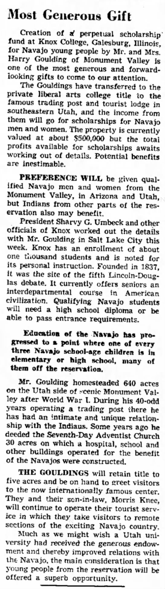 Salt Lake Tribune (SLC, UT) - August 8, 1963 - page 12 - Most Generous Gift Creation of al perpetual...