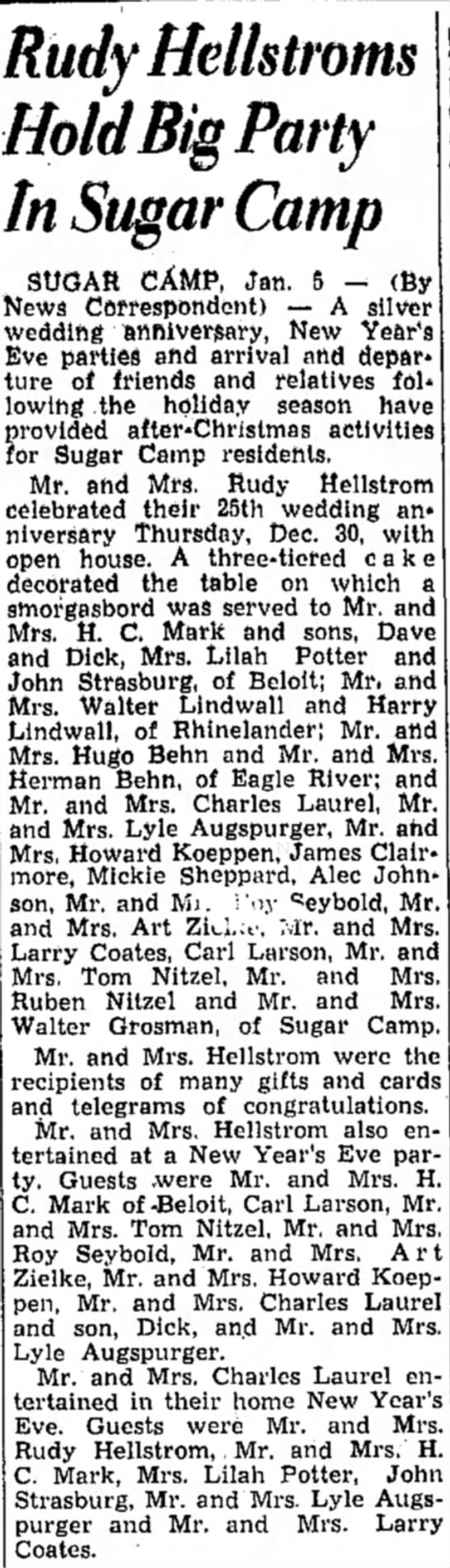The Rhinelander Daily News  5  January 1949 - Rudy Hellstroms Hold Big Party In Sugar Camp...