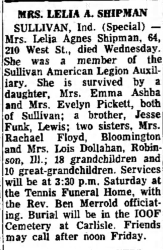 Lelia Funk Shipman- Obituary - She was Sulliv iary. daughter, and Mr: of...