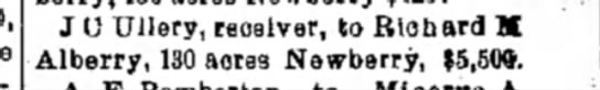 The Miami Helmet - Piqua11 Mar 1897   page 1 - J 0 Ullery, receiver, to Richard M Alberry, 130...