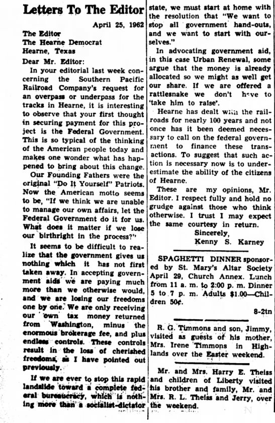 - Letters To The Editor April 25, 1962 The Editor...