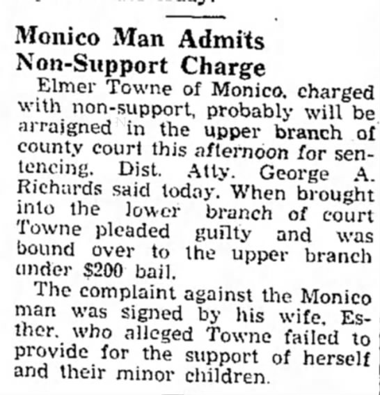 Non Support Elmer Towne April 24, 1941 - Monico Man Admits Non-Support Charge Elmer...