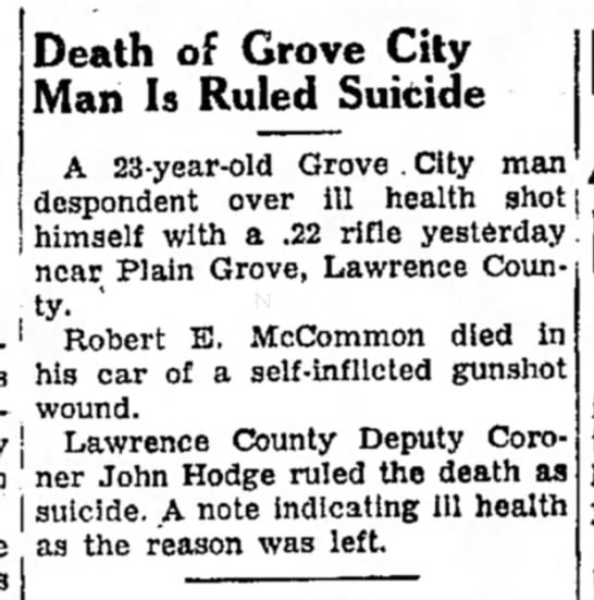 Robert E McCommon suicide article