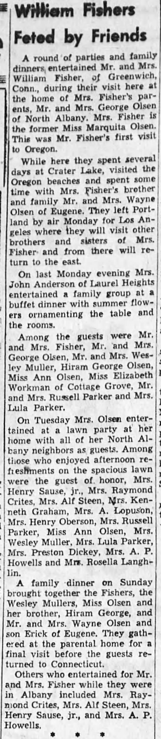 1953-8-27 Fishers visit from Connecticut - Wftriam Fishers Ftod by Fritnds A round of...