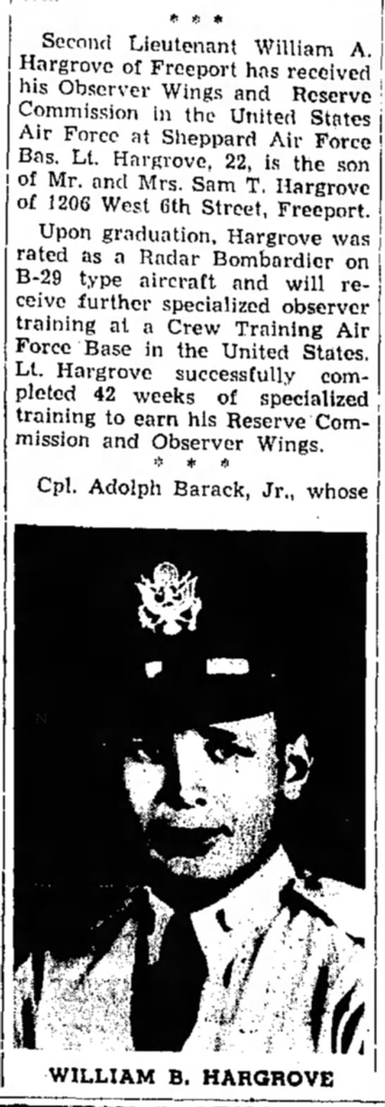 - * * * Second Lieutenant William A. Hargrove of...
