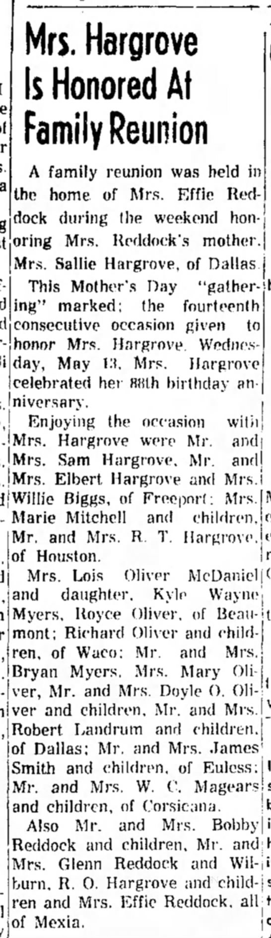 - Mrs, Hargrove Is Honored At Family Reunion A...
