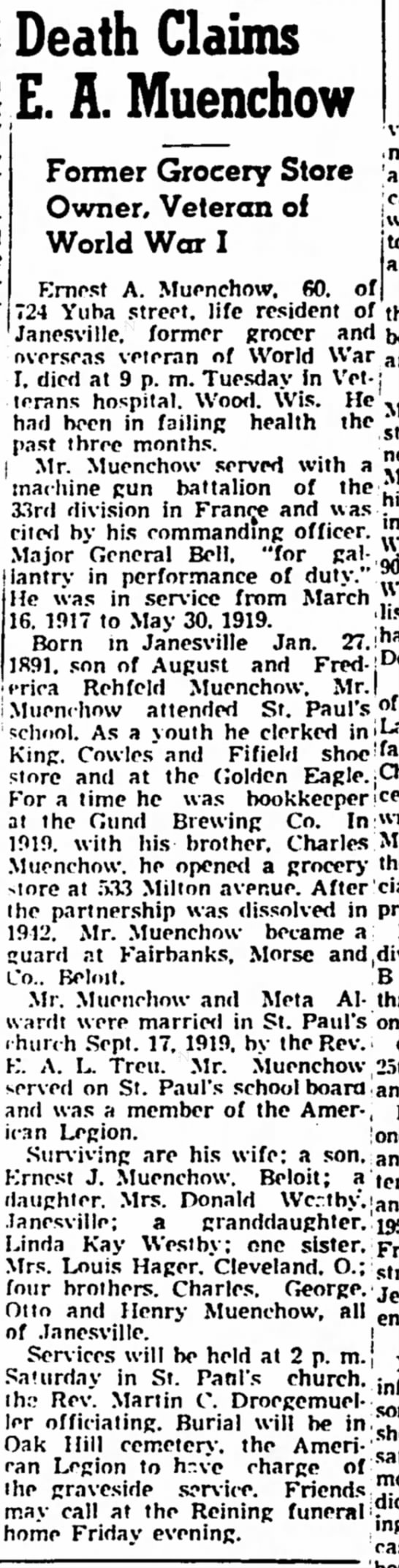 Ernest Muenchow Obit 19 Dec 1951 - Death Claims E. A. Muenchow Former Grocery...
