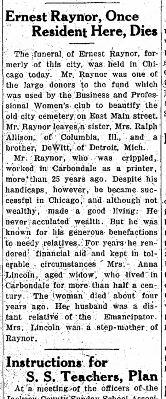 Ernest Raynor Died