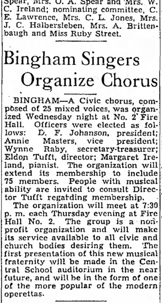 1935 Dee Johanson with Bingham Singers - C. Ireland; nominating committee, C. E....