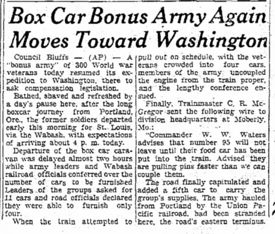 Veterans make their way to Washington DC - Box Car Bonus Army Again Moves Toward...