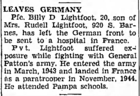 - LEAVES GERMANY Pfc. Billy D Lightfoot, 20, (...