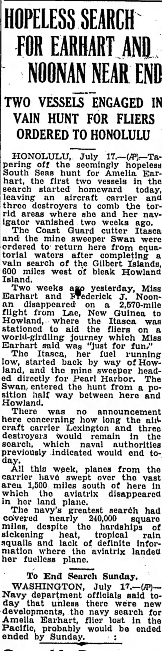 Hopeless search for earhart and noonan near end - HOPELESS SEARCH FOR EARHART M) NOONAN NEAR El...