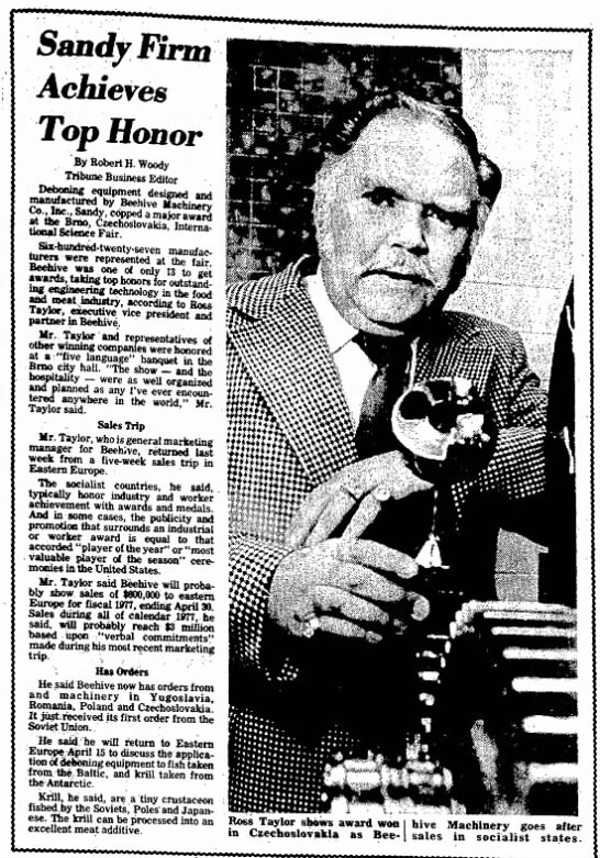 SL Tribune March 18th 1977 - 'inn Achieves Top Honor By Robert H. Woody...