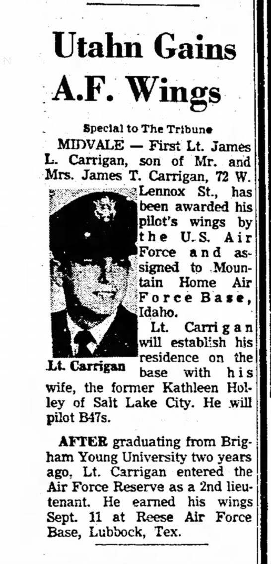 1963 Jimmie Carrigan gains Air Force Wings - Utahn Gains A.F. Wings Special to The Tribune...