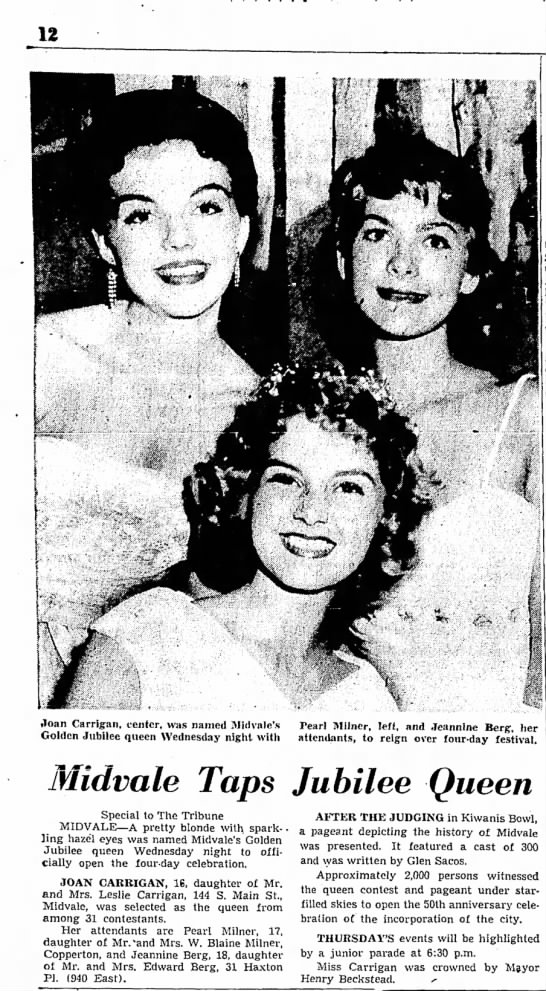 1959 Joan Carrigan, Harvest Days Queen - tToan Carrigan, center, was named IMidvale's...