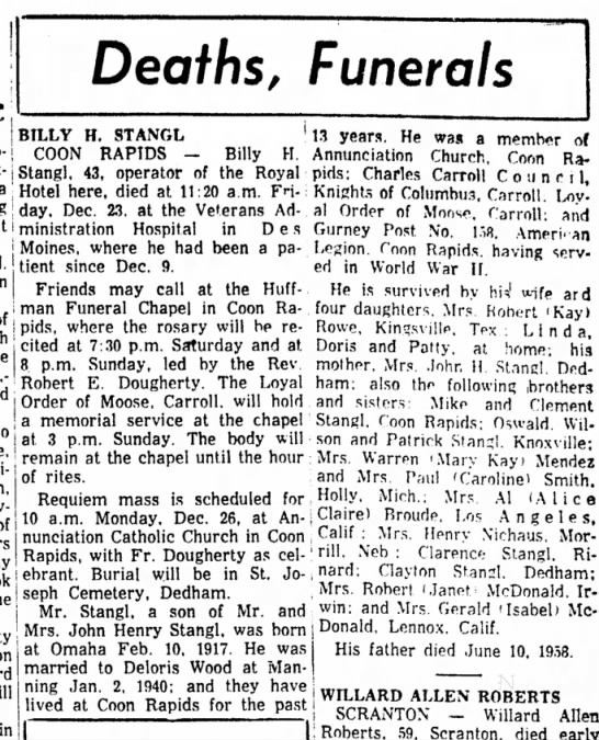 CarrolDailyTimesHerald IA 24 Dec 1960 p7 - Deaths, Funerals BILLY H. STANGL COON RAPTDS —...