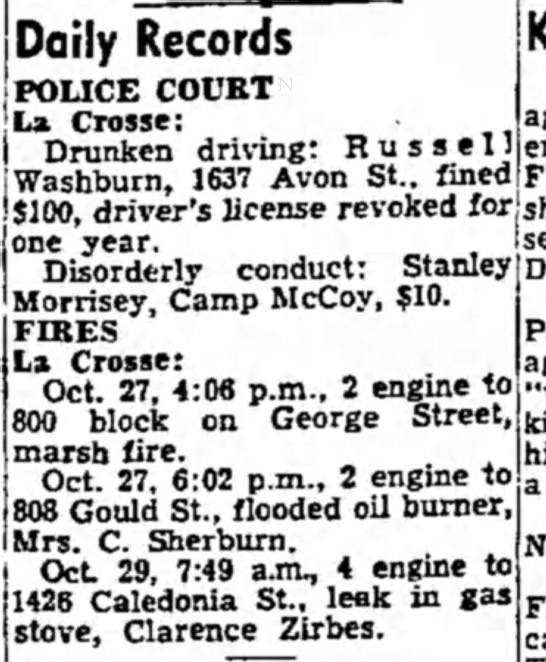 Fire - Daily Records POLICE COURT La Crosse: Drunken...