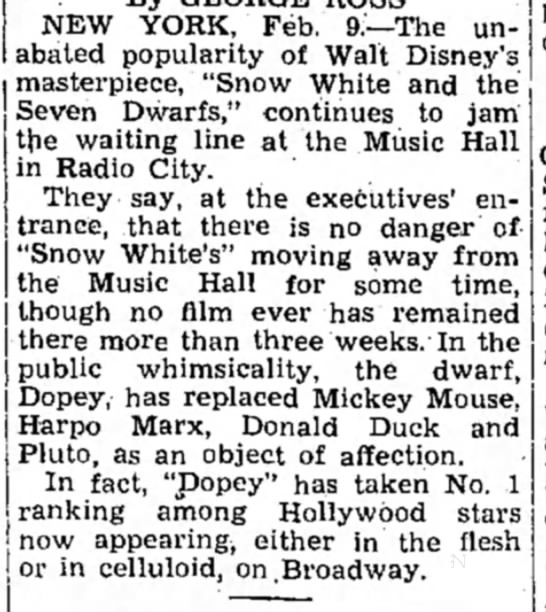 """Snow White"" continues to be popular at Radio City Music Hall weeks after release - NEW YORK, Feb. 9:—The unabated unabated..."