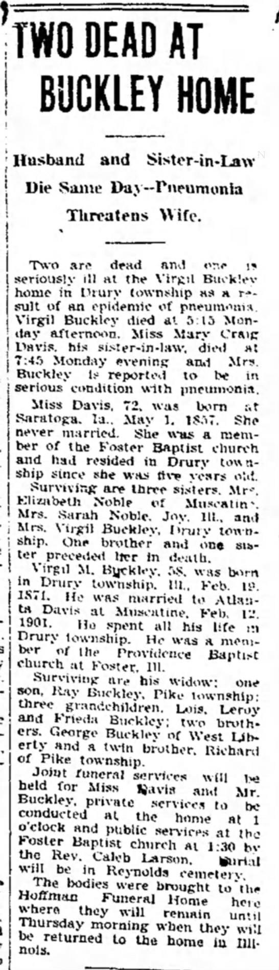 Virgil Buckley, Mary Davis obit 14 Jan 1930 - TWO DEAD AT BUCKLEY HOME Die Saine...