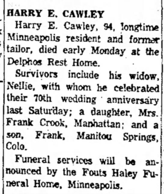 Harry Cawley obit