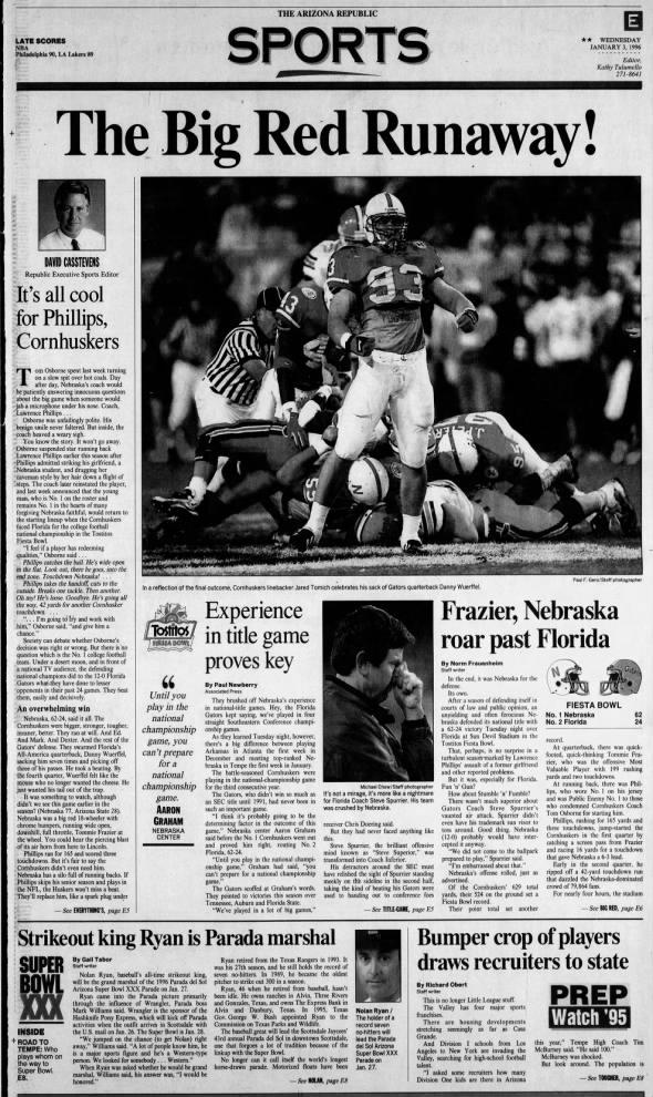 1996 Fiesta Bowl, Arizona Republic sports cover