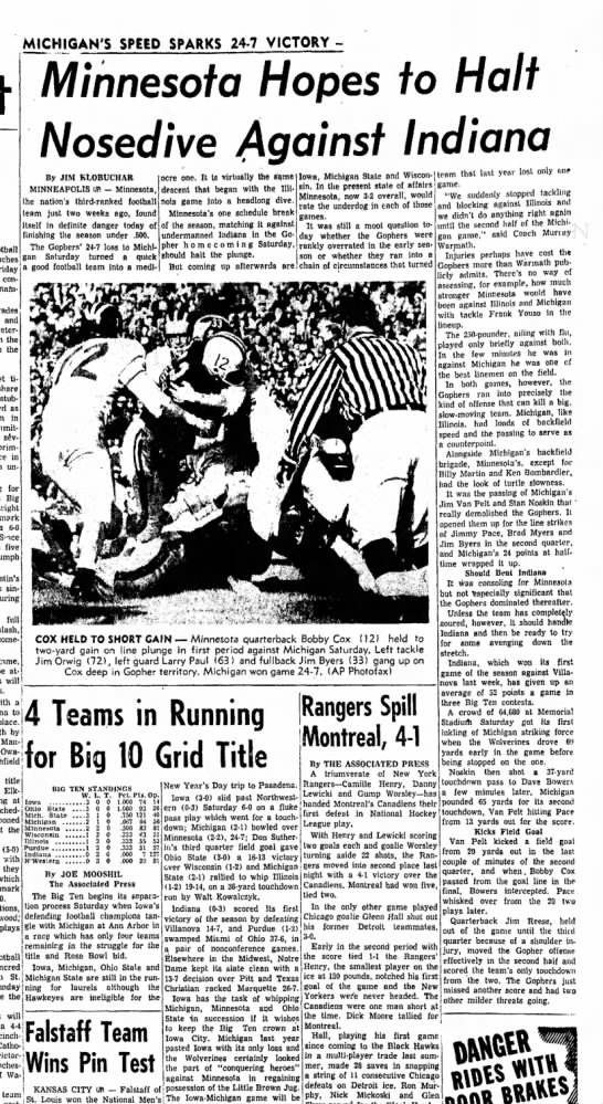 28 Oct 1957 - MICHIGAN'S SPEED SPARKS 24-7 VICTORY Pacelli...