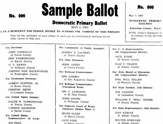 Jack Zubik -- Sample Ballot for Democratic Primary - No. 000 Sample Ballot Democratic Primary Ballot...