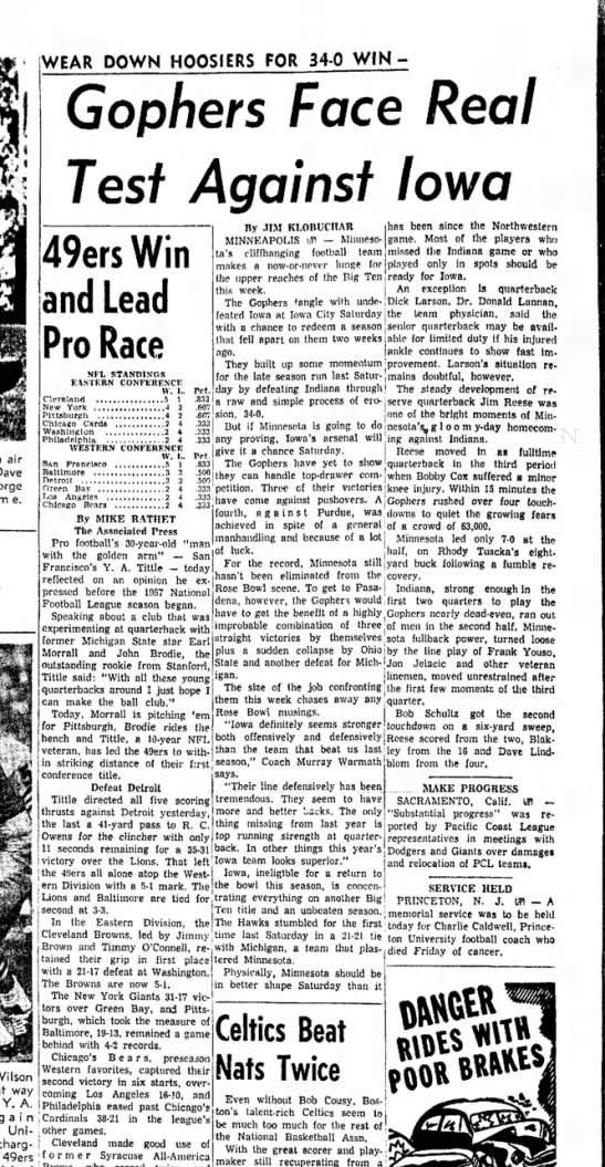 4 Nov 1957 - air m e. WEAR DOWN HOOSIERS FOR 34-0 WIN-...