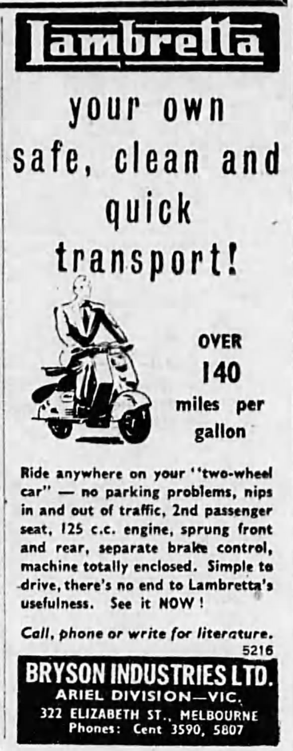 Brysons ad for Lambretta