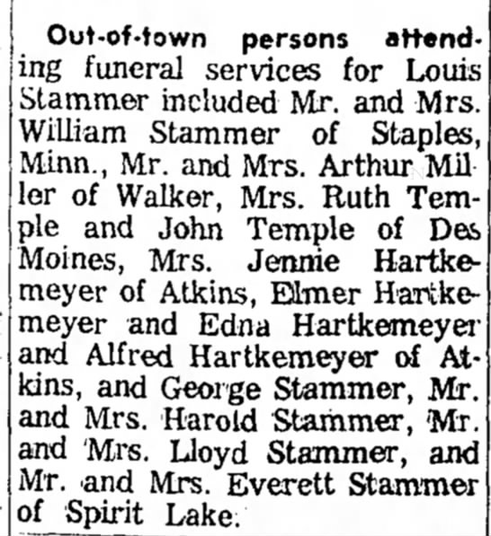 Louis Stammer obit - Out-of-town persons attending funeral services...