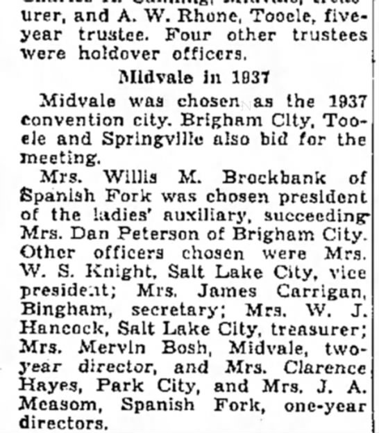 Aug 8 1936  Nona State Women's Firemen's Auxilary Sec. - treasurer, and A. W. Rhone, Tooele, five- year...