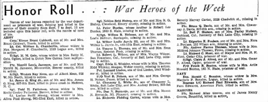 - onor Roll War Heroes of the Week Names of war...