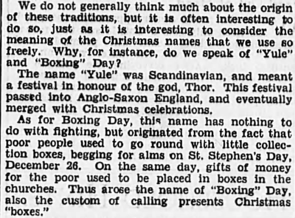 Boxing Day name origins