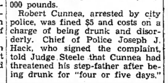 - 000 pounds. Robert Cunnea, arrested by city...
