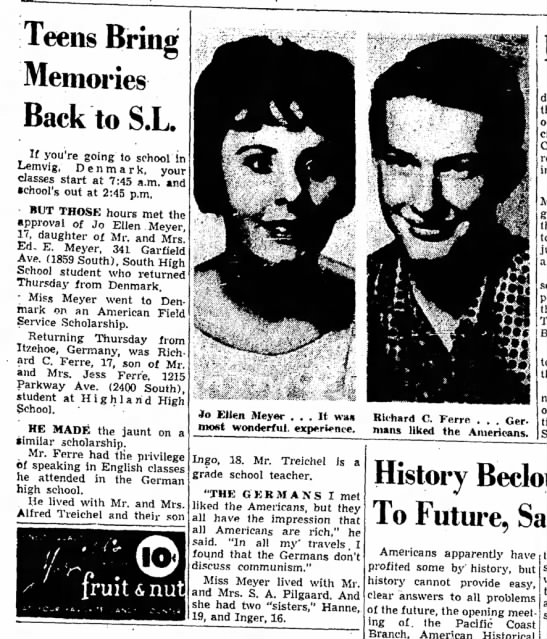 Richard C Ferre - Teens Bring Memories Back to S.L. If you're...