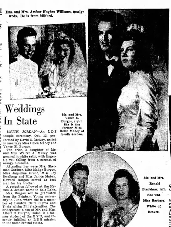 1944 Vance & Helen's marriage article in SLTrib, 29 Oct, p. 45 - 1 Eng§ ftnd Mrs Arthur Hughes Williams,...