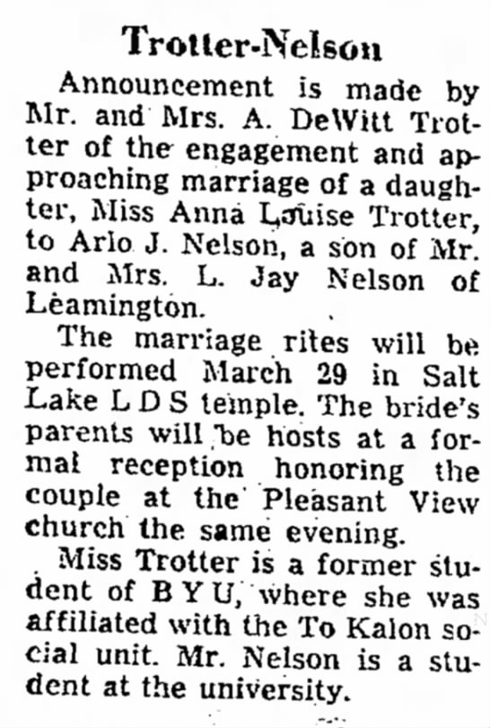 MARCH 25 1951 - Trotler-Nelsou Announcement is made by Mr. and...