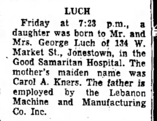 Kimberly Luch birth - LUCH Friday at 7:23 p.m., a daughter was born...