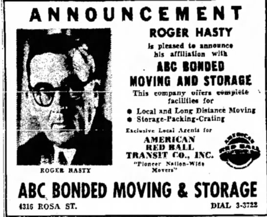 Roger Hasty ad for moving and storage