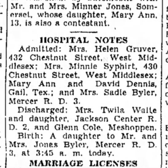 Helen Gruver hospital admission - Mr. and Mrs. Minner Jones, Somerset, Somerset,...