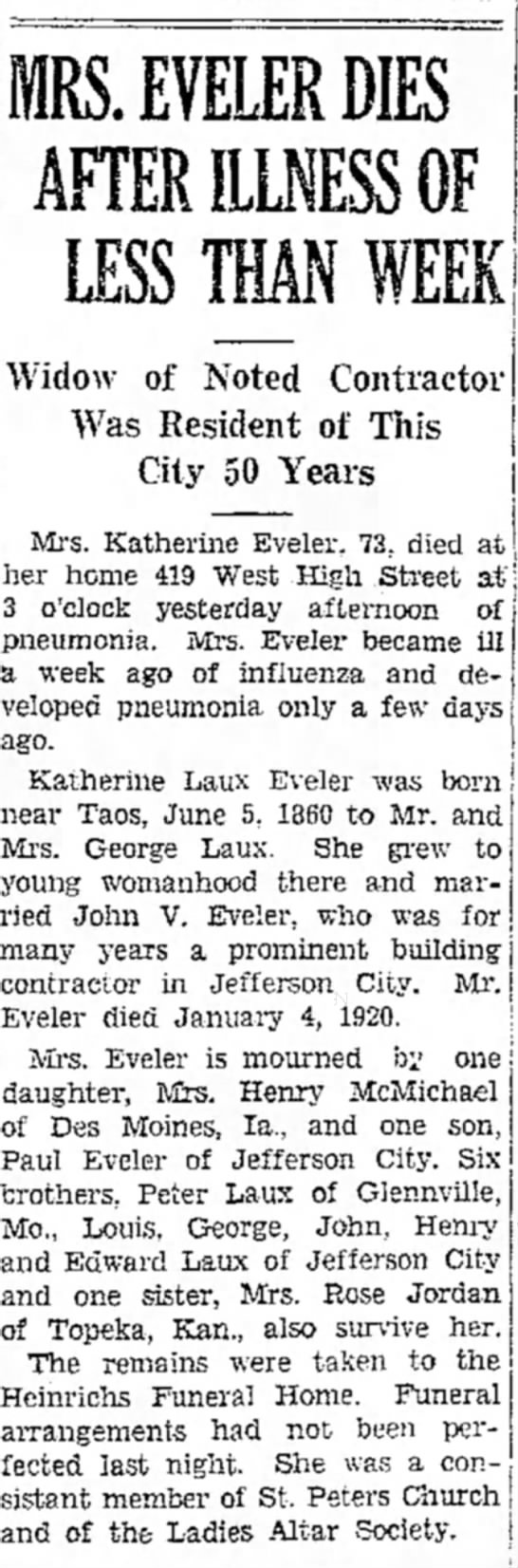 Katherin Laux Eveler Obit - Widow of Noted Contractor . . > Vas Resident of...