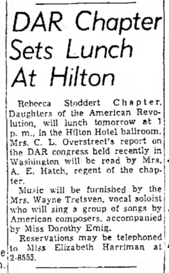 Virginia Moore Tretsven sings for DAR luncheon, from El Paso Herald-Post (El Paso, TX) 13 May 1955 - DAR Chapter Sets Lunch At Hilton Rebecca...