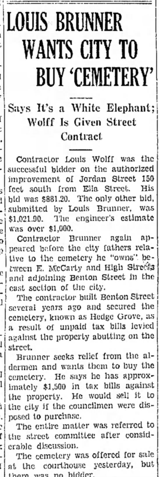 Hedge Grove Cemetery, The Daily Capital News, 3 Oct 1933 - - LOUIS BRUNNER WANTS CITY TO BUY 'CEMETERY'...