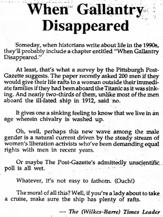 """The 1990s: """"When Gallantry Disappeared"""" - Wheir Disappeared Someday, when historians..."""