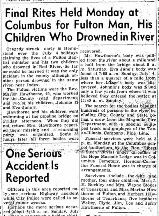 Hope Star, 6 July 1954 p1, Marion Hawthorne & Children drown  - Final Rites Held Monday at Columbus for Fulton...
