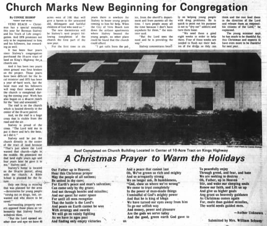 Herman Stalvey ... 25 Dec 1975 - Church Marks New Beginning for Congregation By...