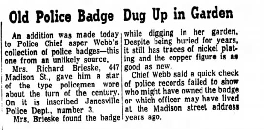 - Old Police Badge Dug Up in Garden An addition...