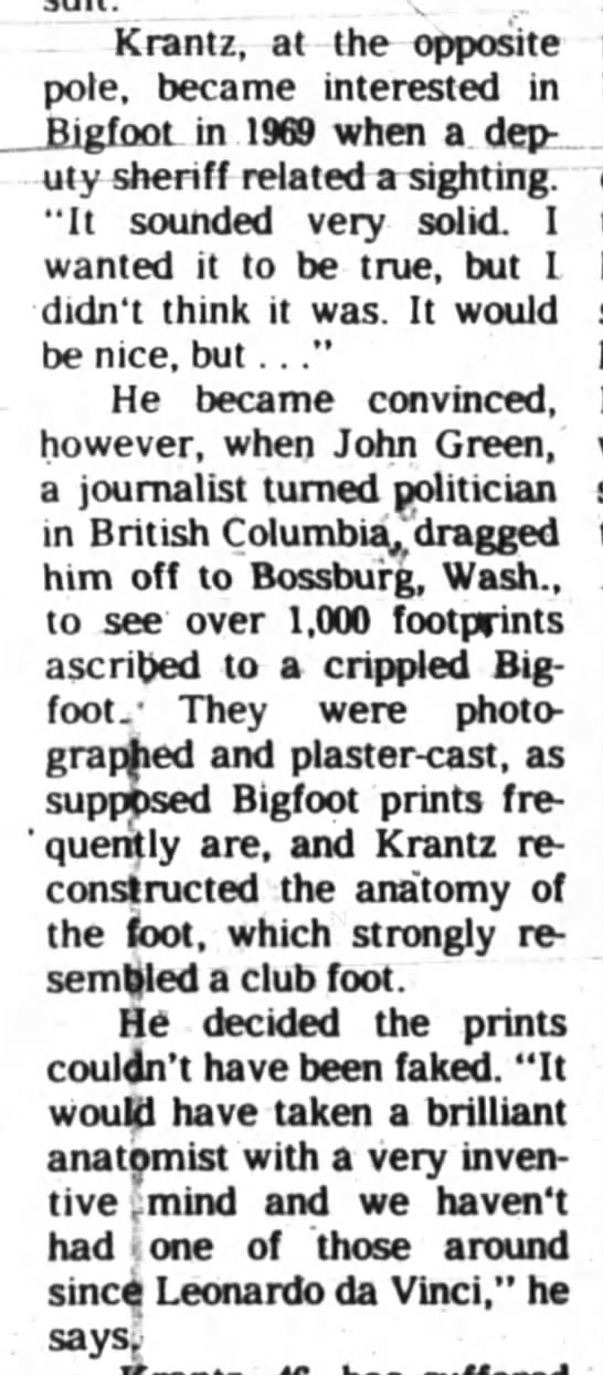 1,000+ Bigfoot tracks - Krantz, at the opposite pole, became interested...