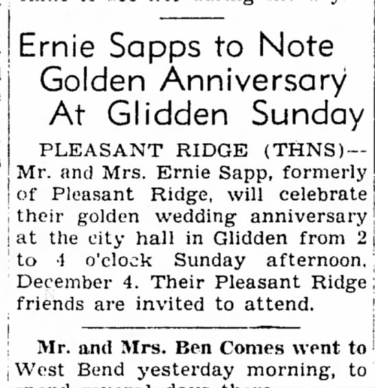 Golden Anniversary 26 Nov, 1949