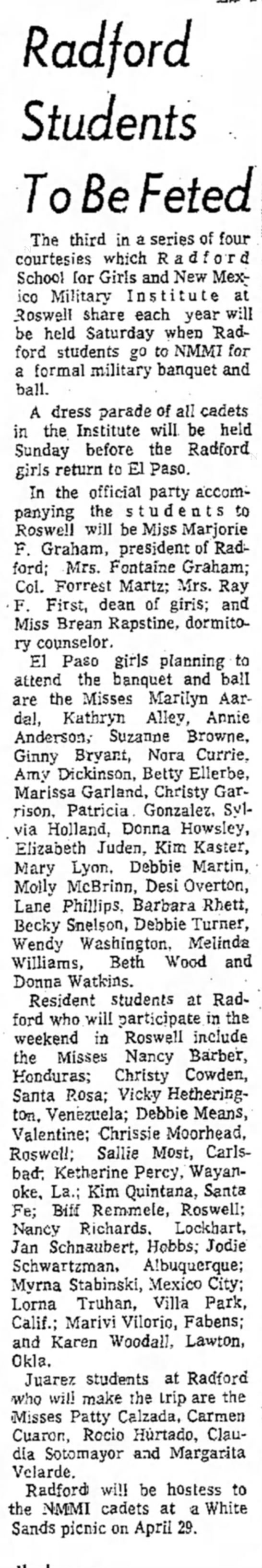 El Paso Herald Post 2 Mar 1972 - Radford Students To Be Feted The third in a...